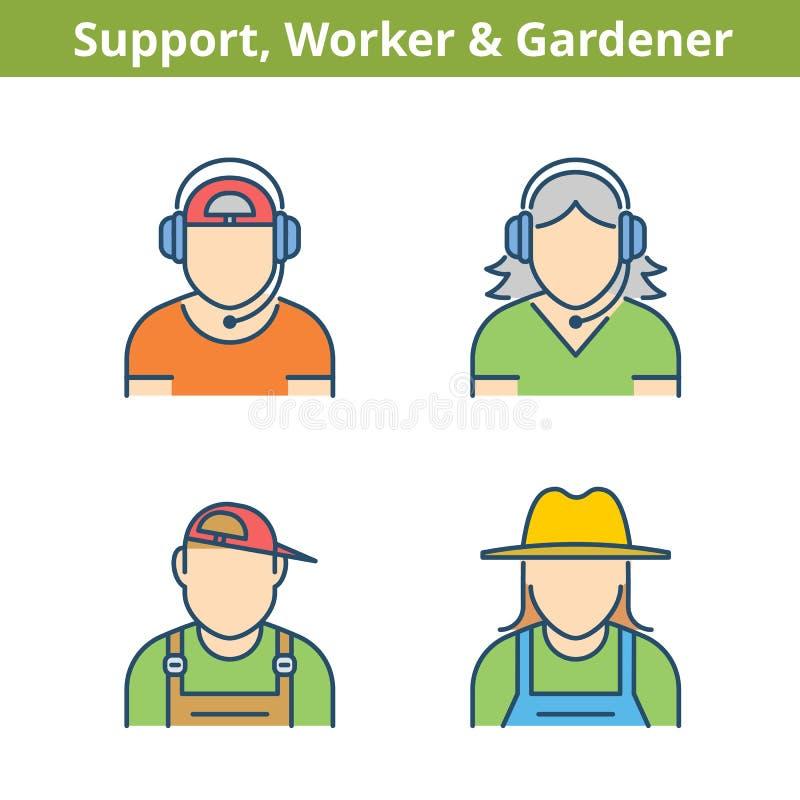 Färgrik avataruppsättning för ockupationer: service arbetare, trädgårdsmästare Thi stock illustrationer