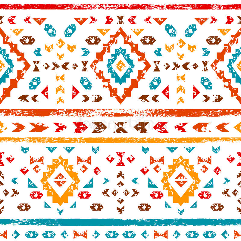 Färgrik aztec prydnad på den vita geometriska etniska illustrationen, vektor royaltyfri illustrationer