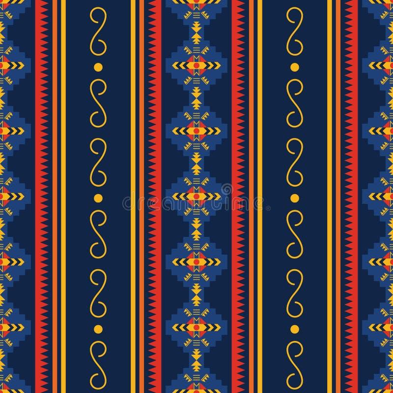 Färgrik aztec sömlös modell Etnisk geometrisk prydnad stock illustrationer