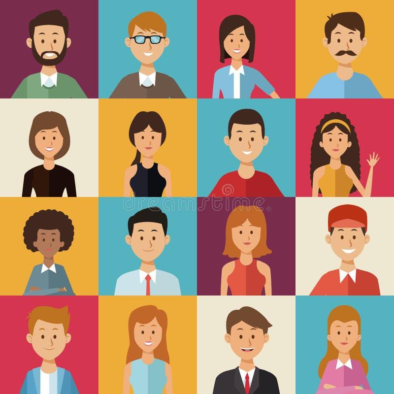 Färgrik bakgrund av fyrkantiga knappar med halvt kroppgruppfolk av världsmångfalden stock illustrationer
