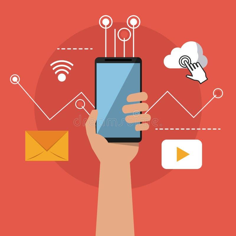 Färgrik bakgrund av handen med smartphone- och sammanlänkningsappssymboler royaltyfri illustrationer