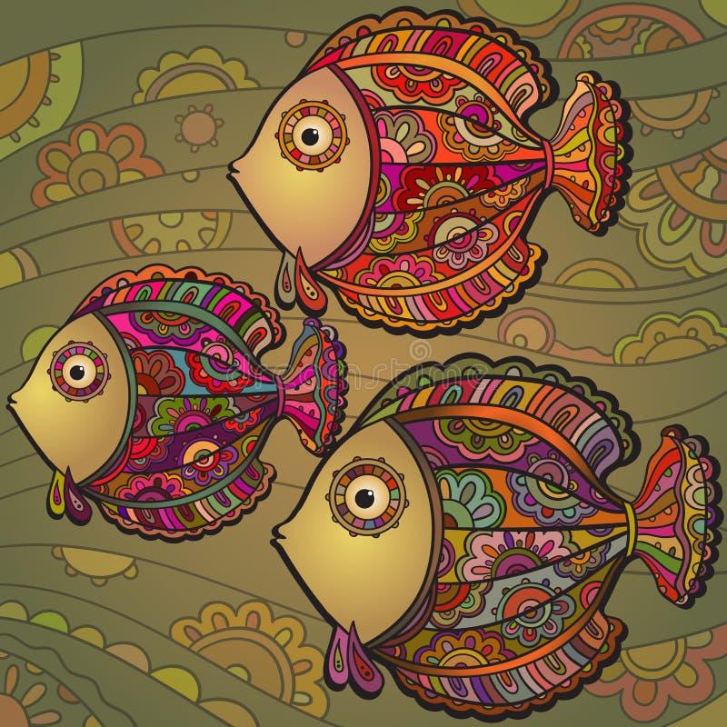 Färgrik bakgrund av mycket härliga dekorativa fiskar royaltyfri illustrationer