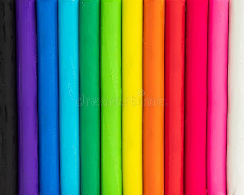 Färgrik bakgrund av plasticine Flerfärgat av att modellera leratextur royaltyfria bilder