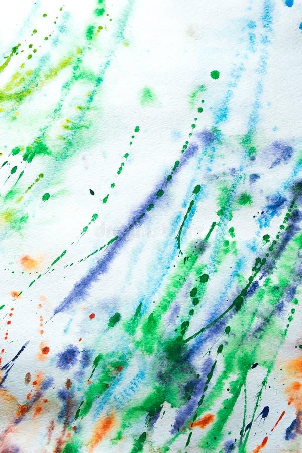 Färgrik bakgrund av vattenfärgmålning på papperet arkivfoton