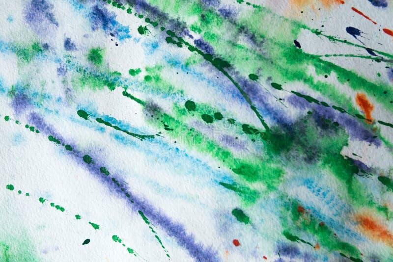 Färgrik bakgrund av vattenfärgmålning på papperet royaltyfri bild