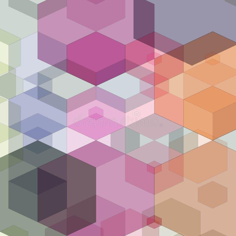 Färgrik bakgrund för abstrakt sexhörning också vektor för coreldrawillustration 10 eps stock illustrationer