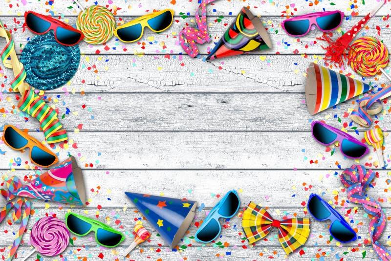 Färgrik bakgrund för beröm för partikarnevalfödelsedag royaltyfria foton