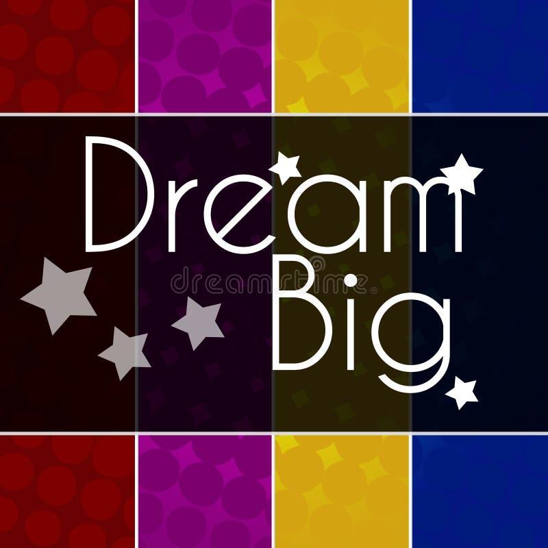 Färgrik bakgrund för dröm- stor text stock illustrationer