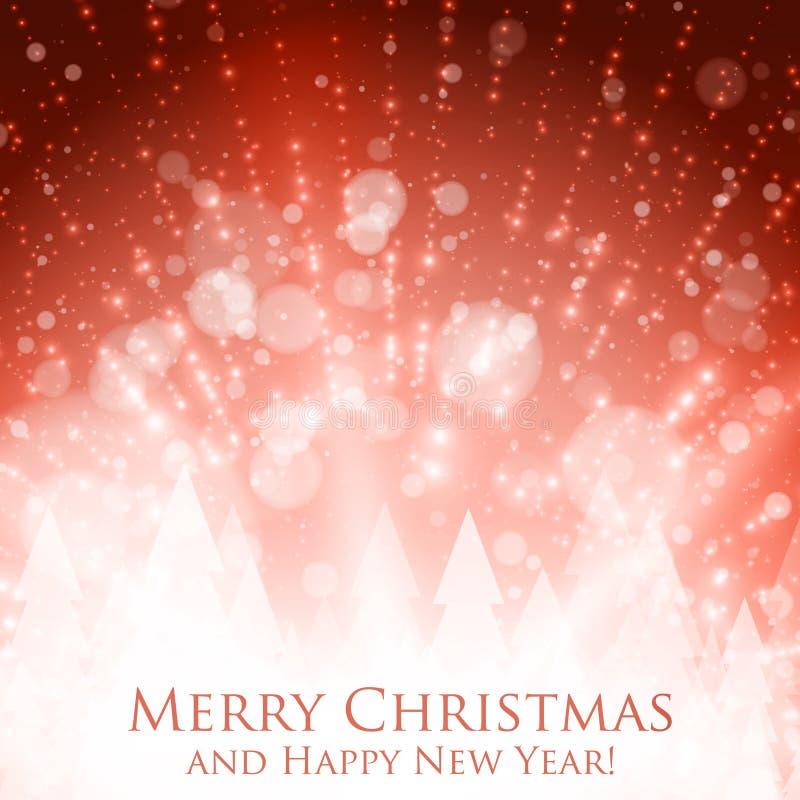 Färgrik bakgrund för glänsande jul med panelljuset och glödande partiklar Abstrakt bakgrund för lyckligt nytt år för vektor stock illustrationer