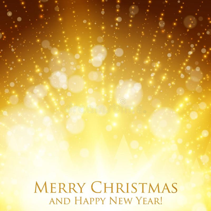 Färgrik bakgrund för glänsande jul med panelljuset och glödande partiklar Abstrakt bakgrund för lyckligt nytt år för vektor royaltyfri illustrationer