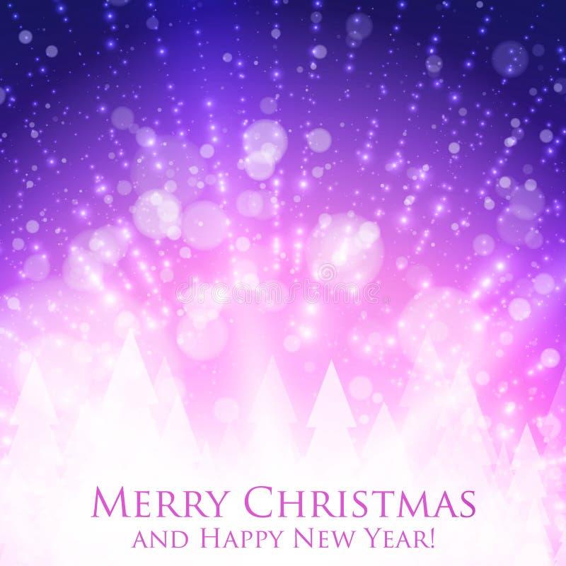 Färgrik bakgrund för glänsande jul med panelljuset och glödande partiklar Abstrakt bakgrund för lyckligt nytt år för vektor vektor illustrationer