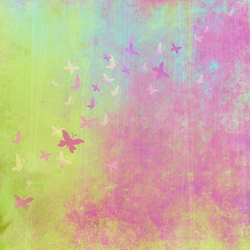 Färgrik bakgrund för Grunge med fjärilar royaltyfri illustrationer