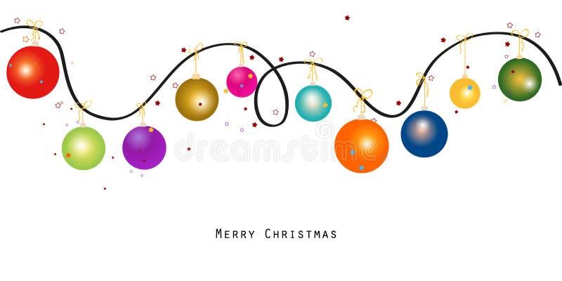 Färgrik bakgrund för illustration för julbollvektor royaltyfri illustrationer