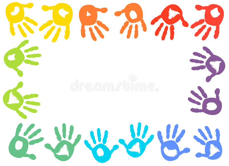 Färgrik bakgrund för vektor för ungehandprintram royaltyfri illustrationer