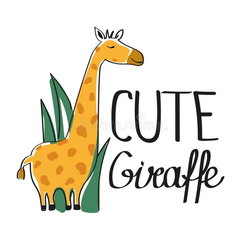 Färgrik bakgrund, giraff i gräs och engelsk text Gullig giraff Dekorativ bakgrund med djuret royaltyfri illustrationer