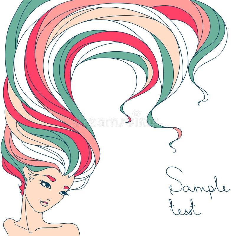 Färgrik bakgrund i linjär stil av den härliga flickan vektor illustrationer