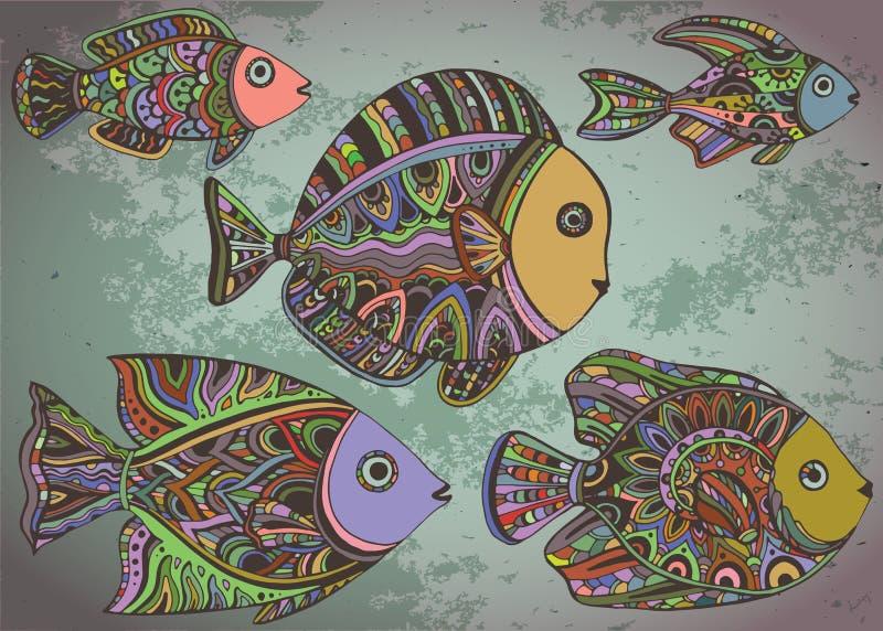 Färgrik bakgrund med dekorativa dekorativa fiskar vektor illustrationer