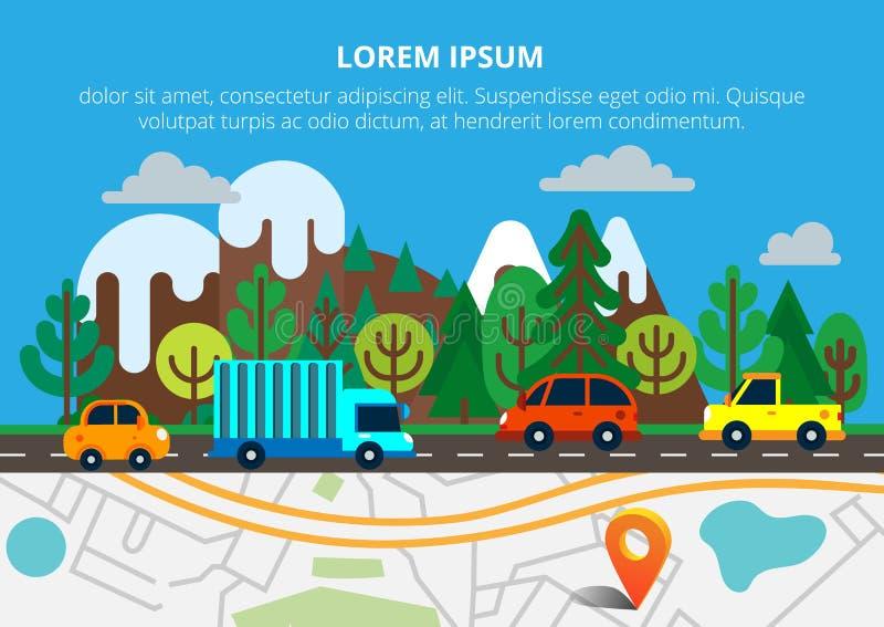 Färgrik bakgrund med den landskap-, väg- och stadsöversikten Top beskådar arkivfoto