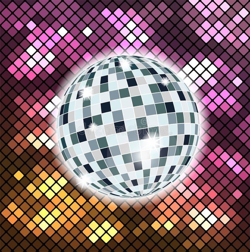 Färgrik bakgrund med diskobollen vektor illustrationer