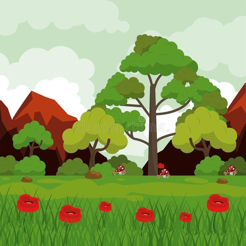 Färgrik bakgrund med landskap av steniga berg och träd och rött blommafält stock illustrationer
