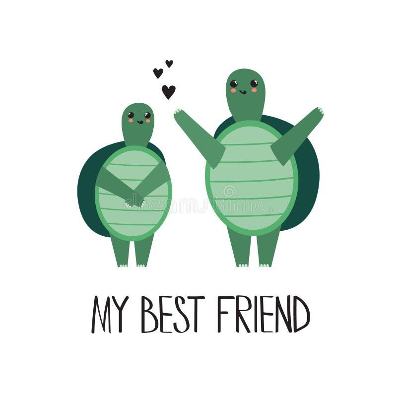 Färgrik bakgrund med lyckliga sköldpaddor, hjärtor och engelsk text min b?sta v?n Dekorativ gullig bakgrund royaltyfri illustrationer