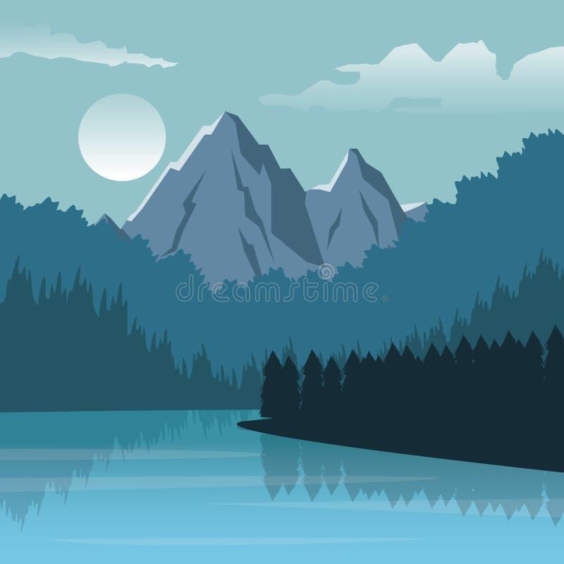 Färgrik bakgrund med nattlandskap av berget och floden vektor illustrationer