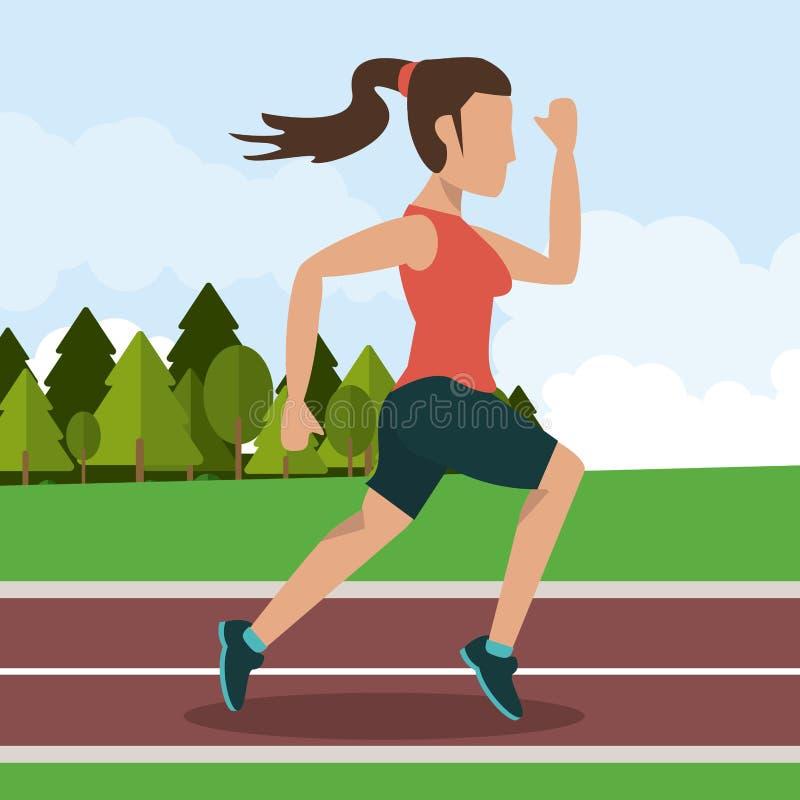 Färgrik bakgrund med spring för kvinnlig idrottsman nen i idrotts- spår med hästsvanshår stock illustrationer