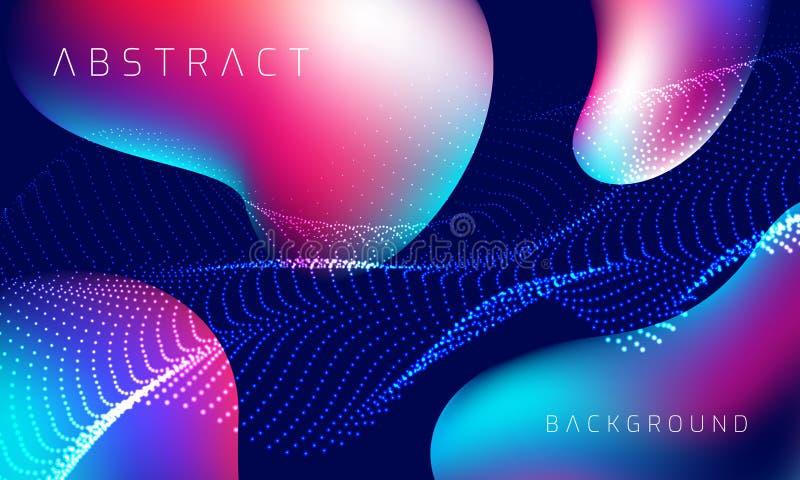 Färgrik bakgrund med stil 3D Modern v?tskebakgrund Abstrakt bakgrund med rosa, blå och purpurfärgad färg för blandning EPS10 royaltyfri illustrationer