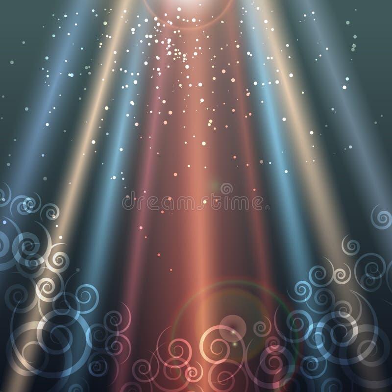 Färgrik bakgrund med strålar av ljus stock illustrationer