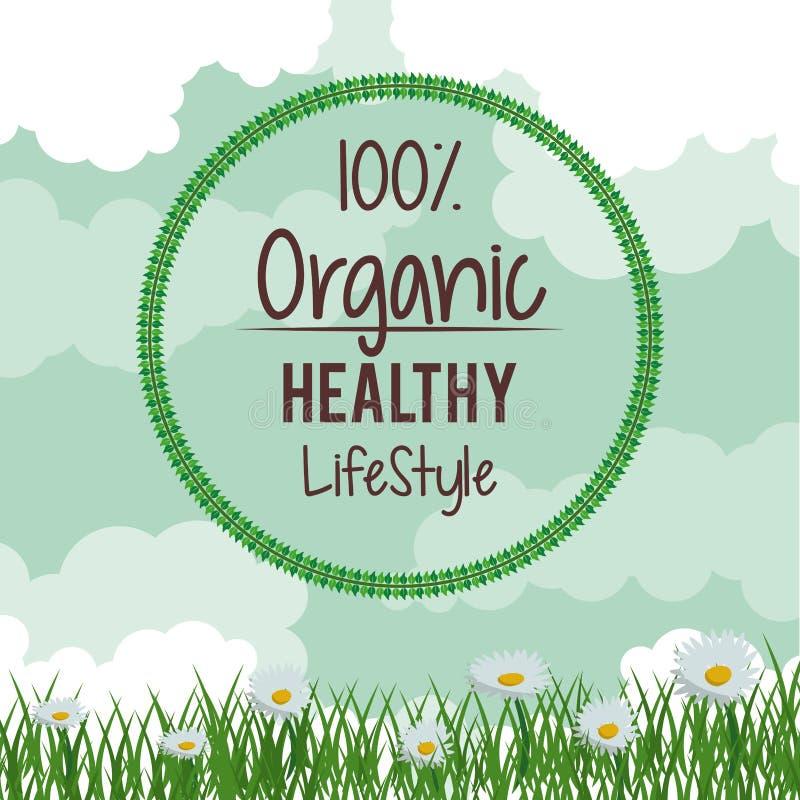 Färgrik bakgrund med tusenskönablommalandskap med rund logo av hundra procent naturlig sund livsstil vektor illustrationer