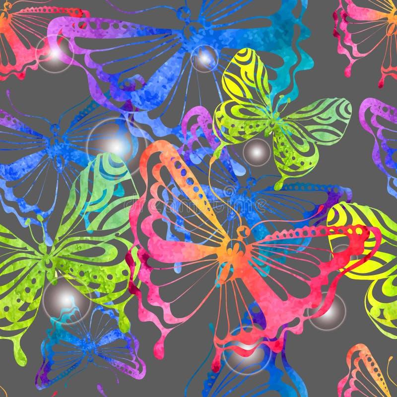 Färgrik bakgrund med vattenfärgfjärilen, sömlös modell stock illustrationer