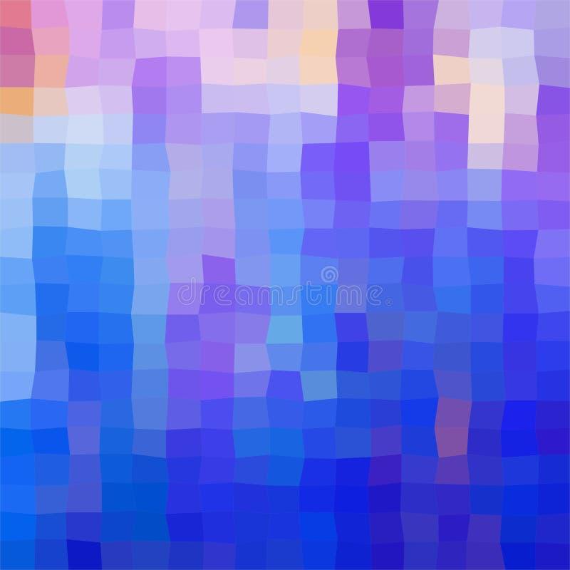 Färgrik bakgrund som består av blått- och lilafyrkanter Mosaisk bakgrund av geometriska beståndsdelar Flerfärgat abstrakt PIXELsm royaltyfri illustrationer