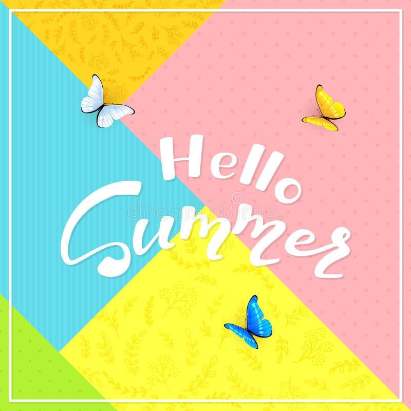 Färgrik bakgrunds- och textHello sommar med fjärilar royaltyfri illustrationer