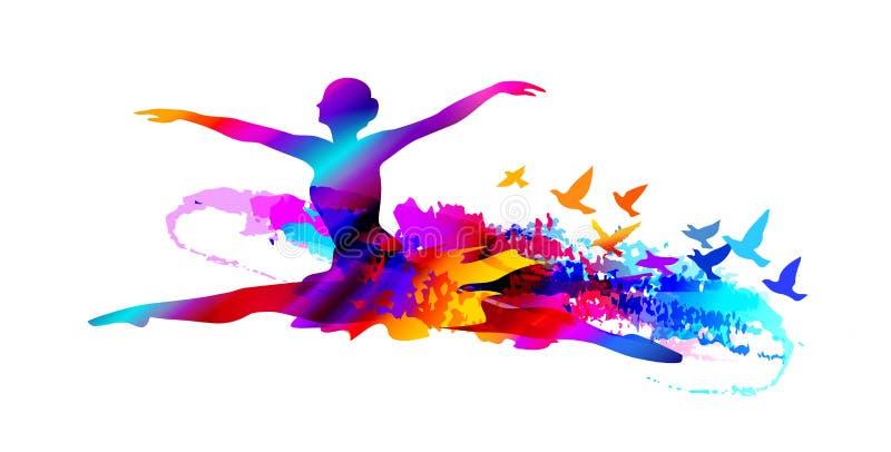 Färgrik balettdansör, digital målning med flygfåglar stock illustrationer