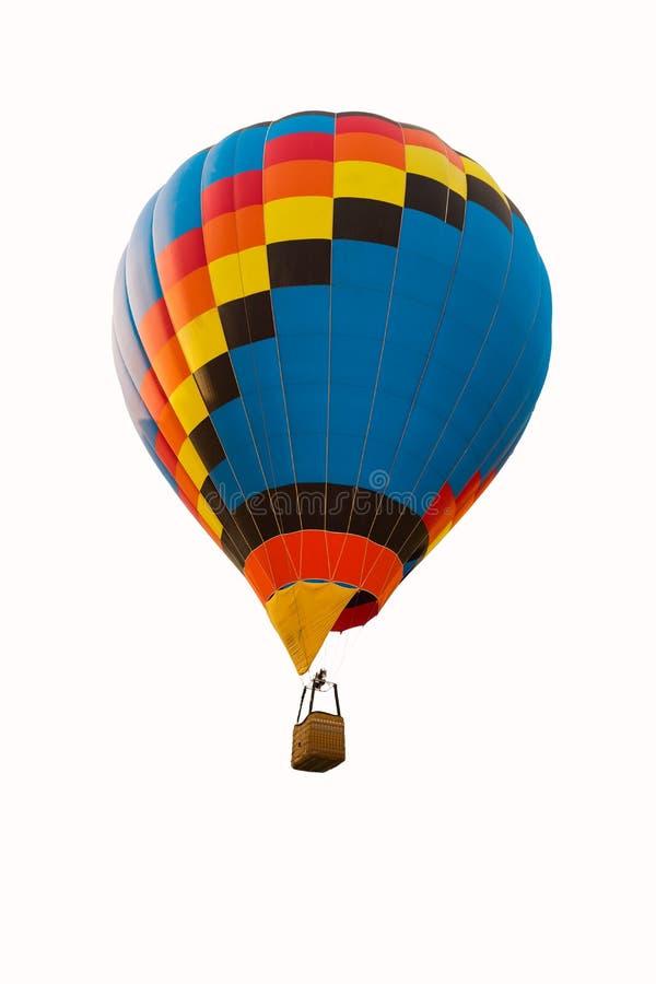 Färgrik ballong för varm luft som isoleras på vit royaltyfri fotografi