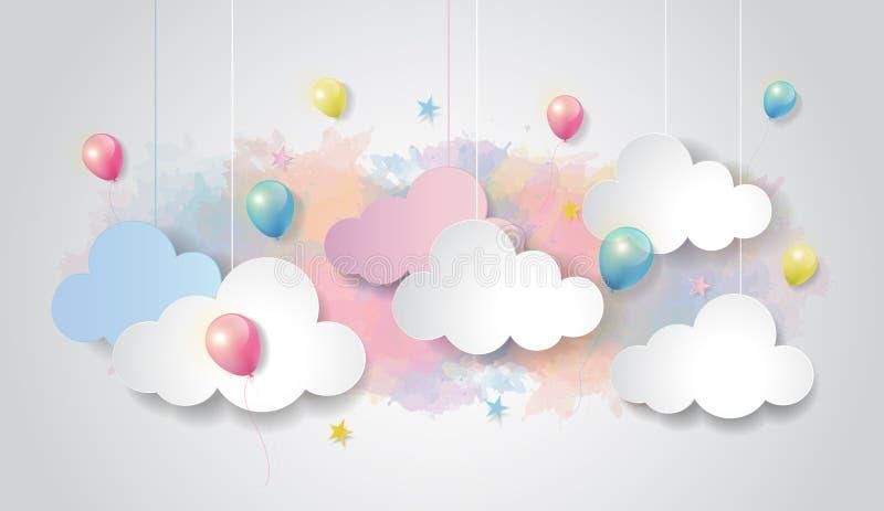 Färgrik ballong och moln på vattenfärghimmelbakgrund, stil för papperssnittdesign, vektorillustration stock illustrationer