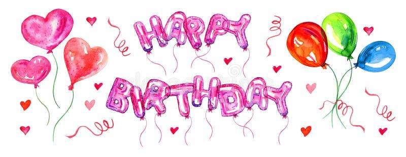 Färgrik ballonguppsättning Födelsedagbokstäver- och nummerballonger Lycklig födelsedag för titel Handen drog vattenfärgen skissar vektor illustrationer