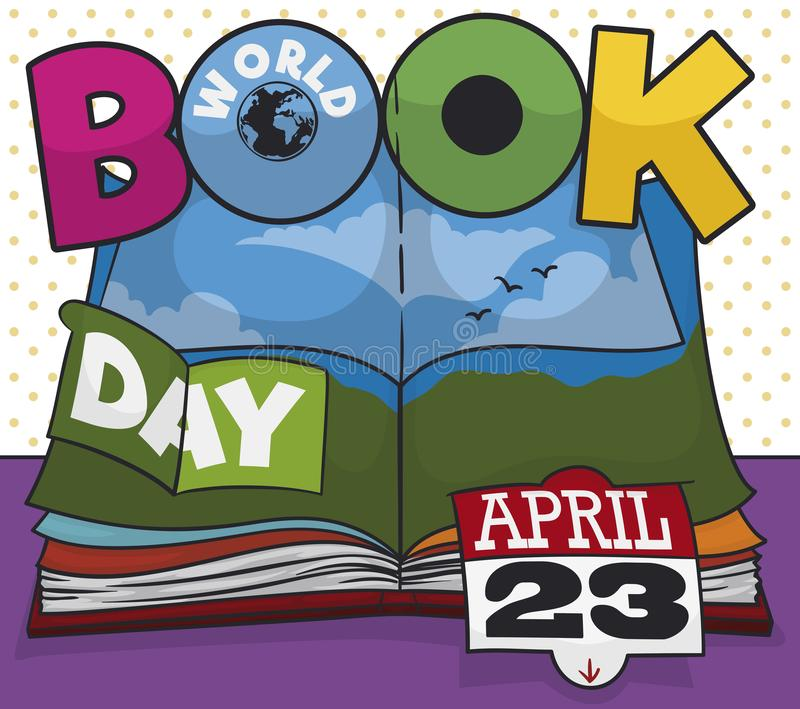 Färgrik barns för pop bok upp för världsbokdagen, vektorillustration royaltyfri illustrationer