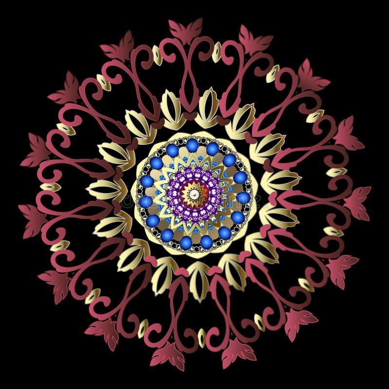 Färgrik barock blom- rund mandalamodell Dekorativ barock victorian stilbakgrund för vektor dekorativ prydnadtappning royaltyfri illustrationer