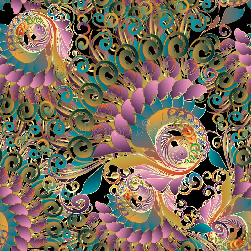 Färgrik barock sömlös modell för tappning Flerfärgad flo för vektor vektor illustrationer