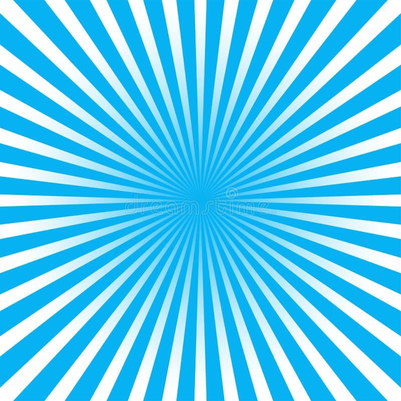 Färgrik blå bakgrund för abstrakt begrepp för strålsunburststil stock illustrationer