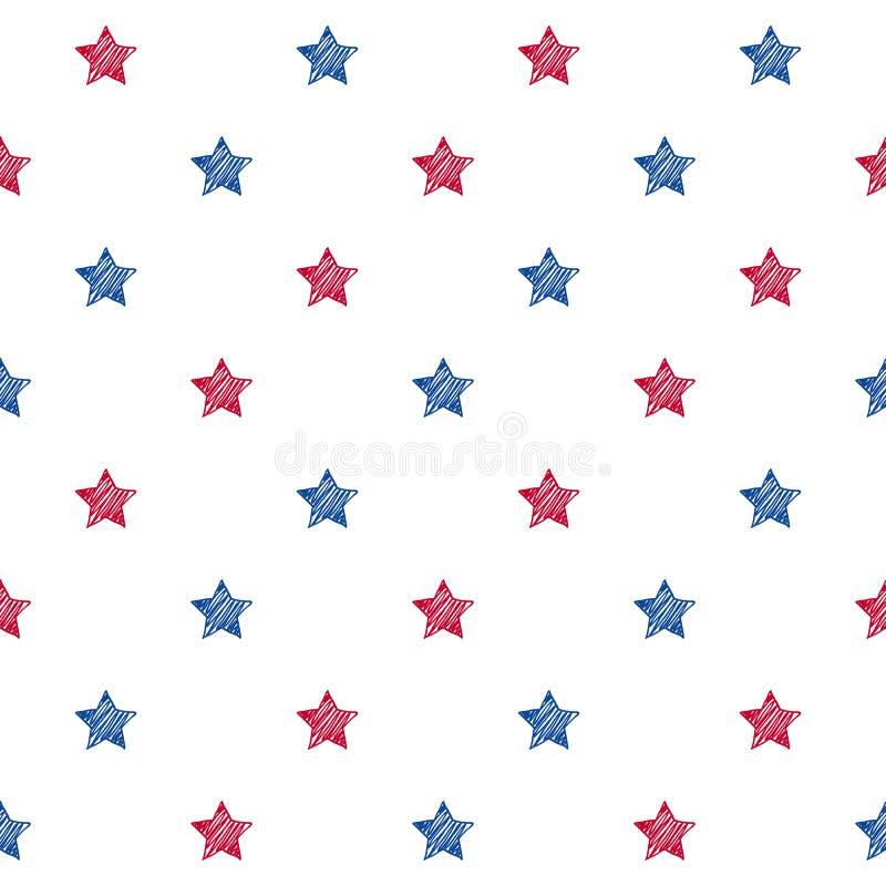 Färgrik blå sömlös bakgrund för röda och vita stjärnor royaltyfri illustrationer