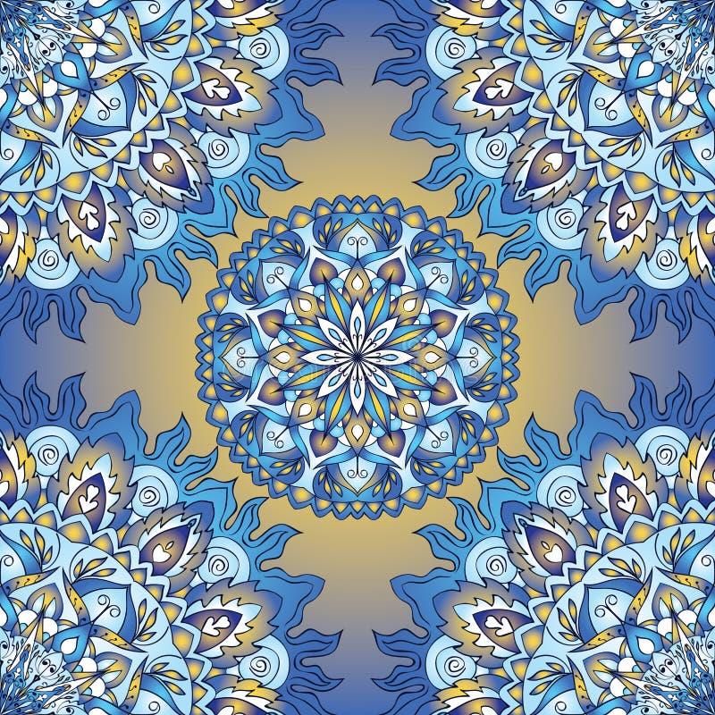 Färgrik blå sömlös modell vektor illustrationer