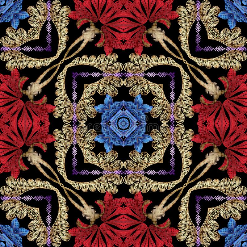 Färgrik blom- etnisk stil texturerad sömlös modell för vektor Dekorativ broderibakgrund Repetitiongrungebakgrund Tappning stock illustrationer