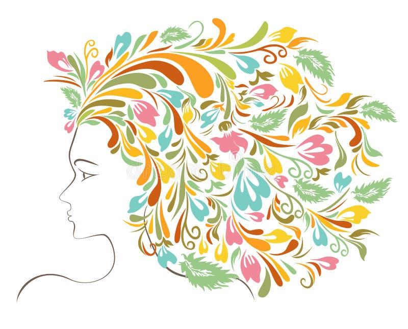 Färgrik blom- frisyr för flicka royaltyfri illustrationer