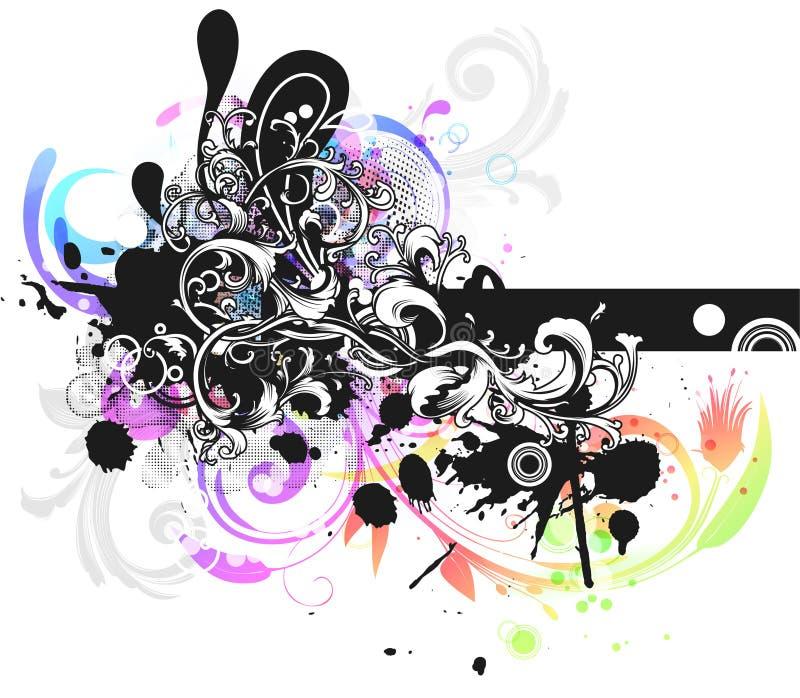 färgrik blom- grunge för bakgrund stock illustrationer