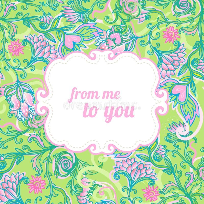 färgrik blom- ramromantiker vektor illustrationer
