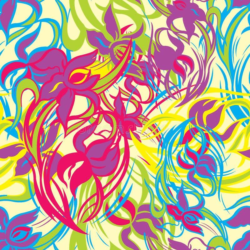 Färgrik blom- sömlös modell av abstrakta iriers vektor stock illustrationer
