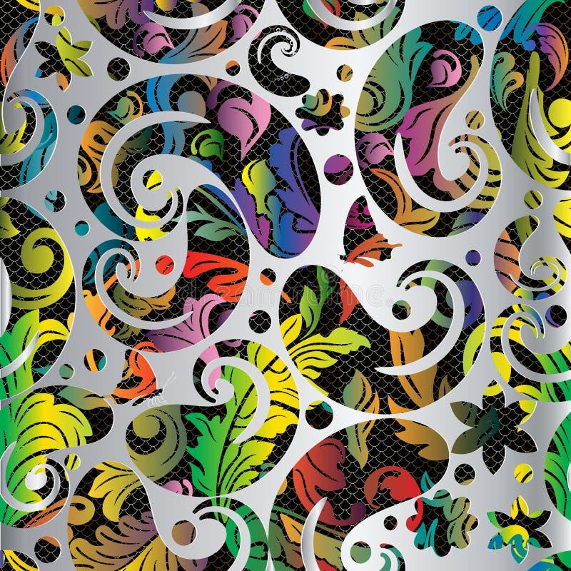 Färgrik blom- sömlös modell för tappning 3d Paisley vektor illustrationer
