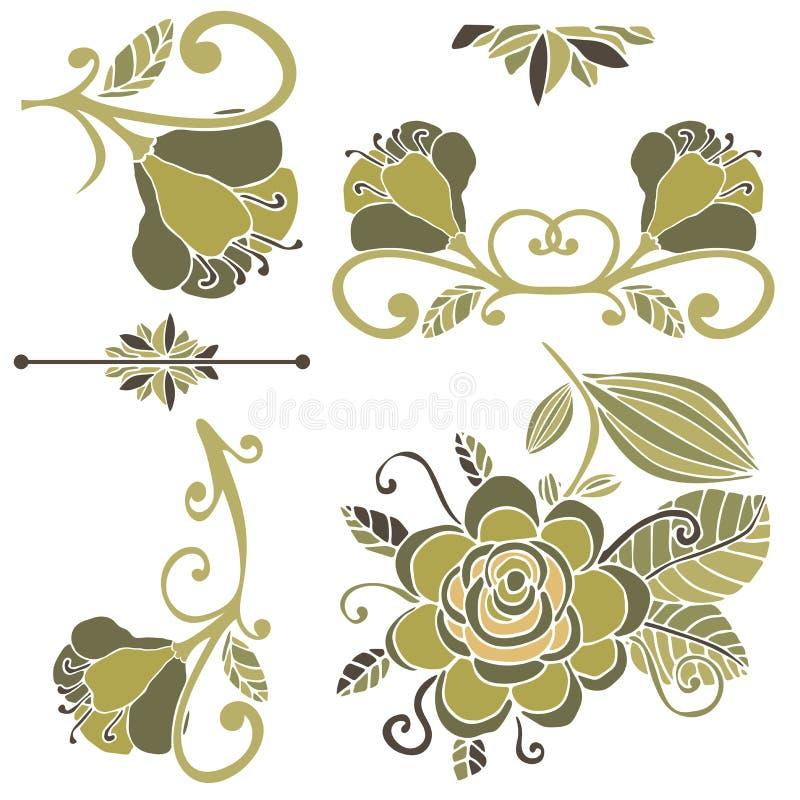 Färgrik blom- samling av designbeståndsdelar Paradise fantasiblomma som isoleras på vit stock illustrationer